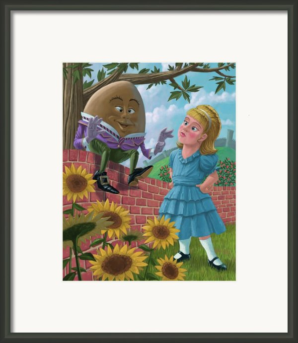 Humpty Dumpty On Wall With Alice Framed Print By Martin Davey