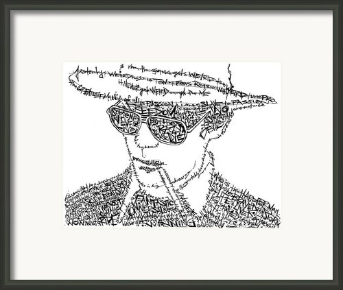 Hunter S. Thompson Black And White Word Portrait Framed Print By Kato Smock
