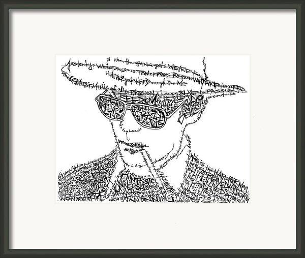 Hunter S. Thompson Black And White Word Portrait Framed Print By Kato Smock