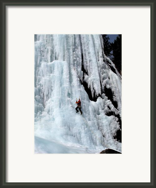 Ice Climbing In The Adirondack Mountains Of New York At Pok-o-moonshine Cliff Framed Print By Brendan Reals