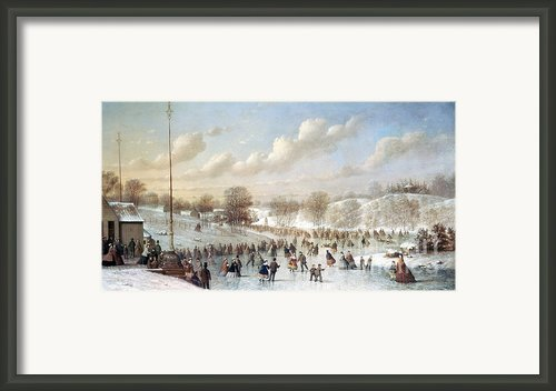 Ice Skating, 1865 Framed Print By Granger