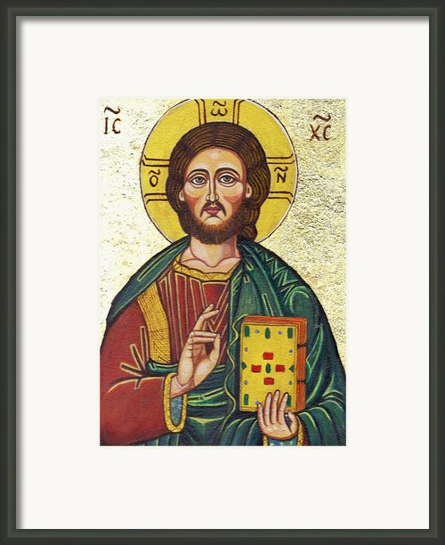 Icon Of Jesus As Christ Pantocrator Framed Print By Ion Vincent Danu