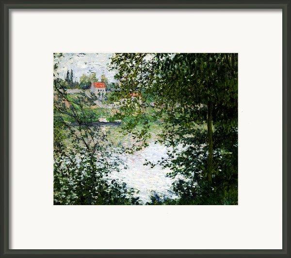 Ile De La Grande Jatte Through The Trees Framed Print By Claude Monet