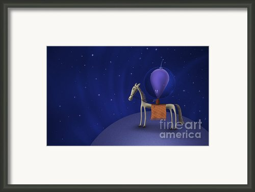 Illustration Of A Martian Riding Framed Print By Vlad Gerasimov