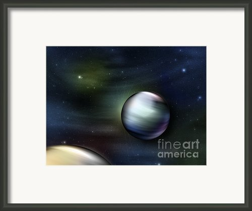 Illustration Of Planets In Outer Space Framed Print By Vlad Gerasimov