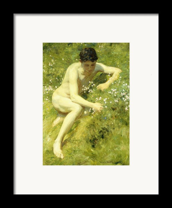 In The Meadow Framed Print By Henry Scott Tuke