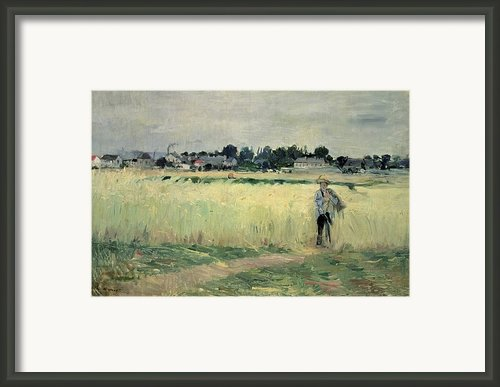 In The Wheatfield At Gennevilliers Framed Print By Berthe Morisot