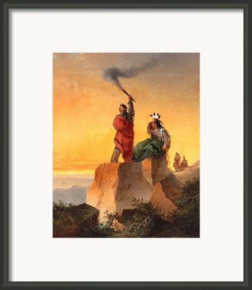 Indian Telegraph Framed Print By John Mix Stanley