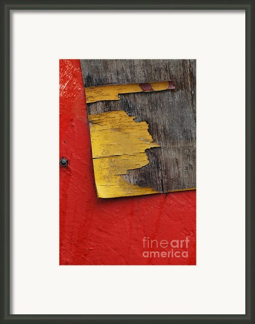 Industrial Red Wall Abstract Framed Print By Adspice Studios