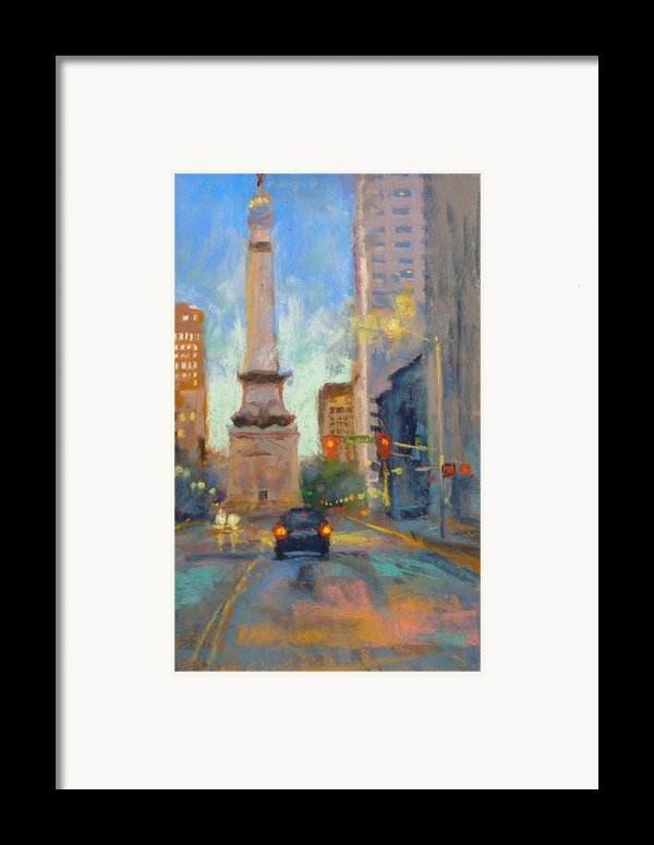 Indy Monument At Twilight Framed Print By Donna Shortt