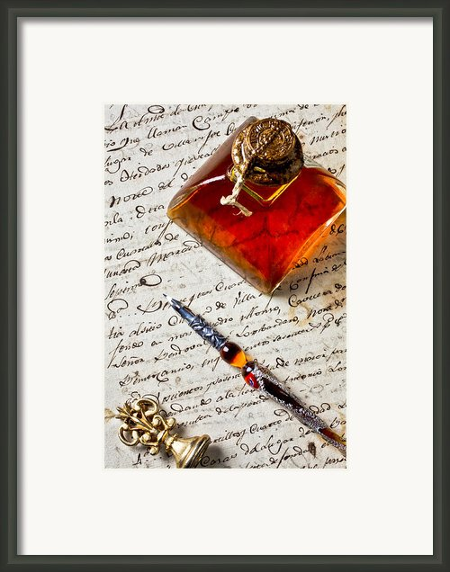 Ink Bottle And Pen  Framed Print By Garry Gay
