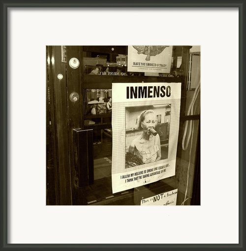 Inmenso Cohiba Framed Print By Debbi Granruth