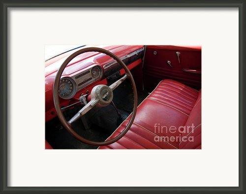 Interior Of A Classic American Car Framed Print By Sami Sarkis