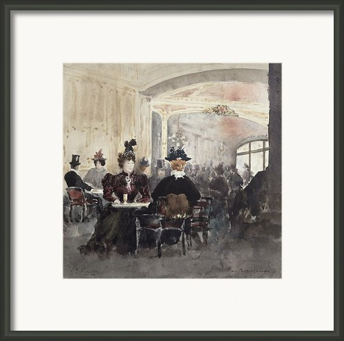 Interior Of The Concert Rouge Framed Print By Henri Laurent Mouren