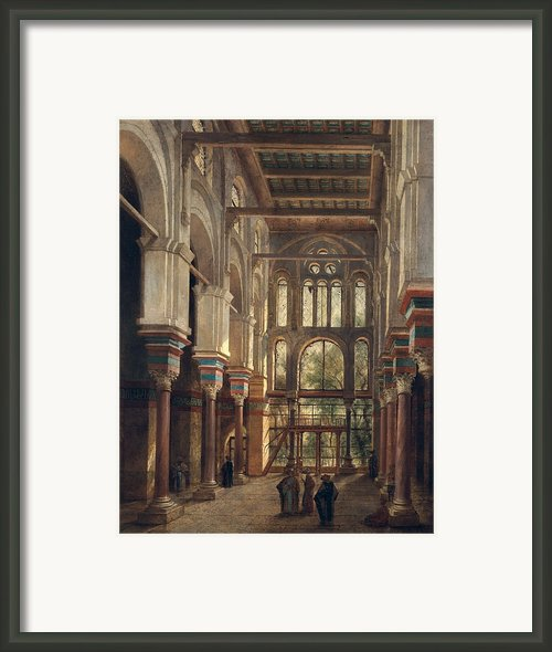 Interior Of The Mosque Of El Mooristan In Cairo Framed Print By Adrien Dauzats