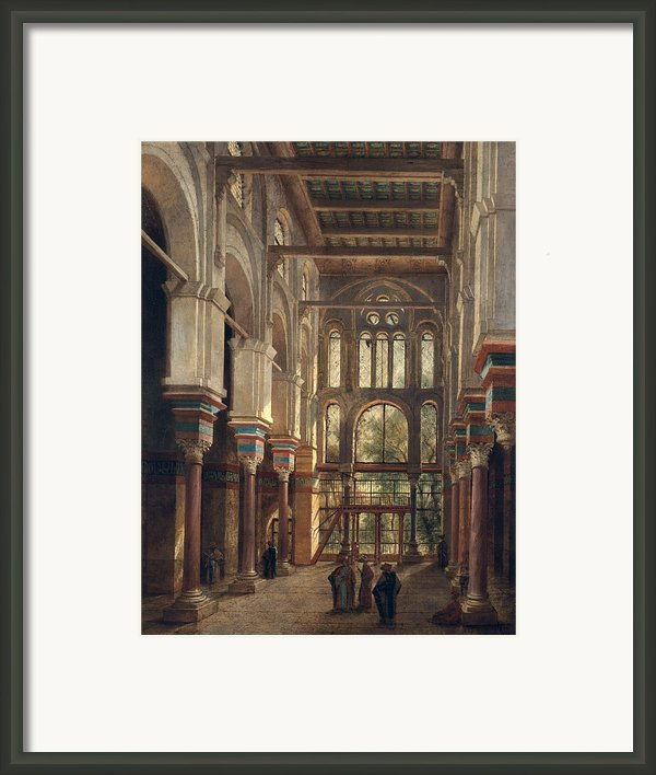 Interior Of The Mosque Of El Mooristan In Cairo Framed Print By Adrien Dauzats