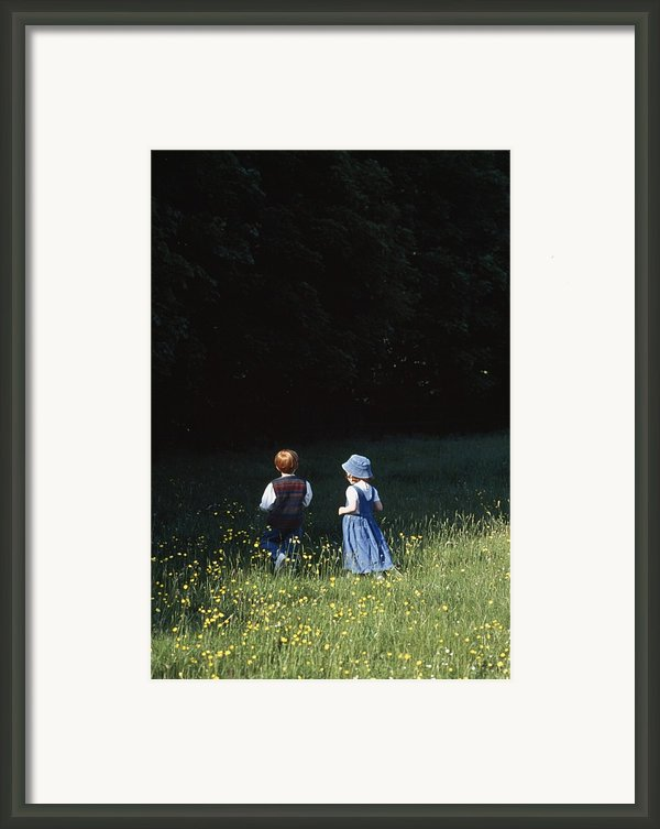 Ireland Children In A Field Framed Print By The Irish Image Collection