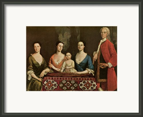 Issac Royall And His Family Framed Print By Robert Feke