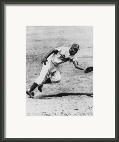Jackie Robinson, Fielding Third Base Framed Print By Everett