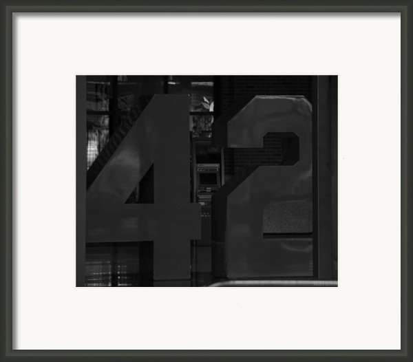 Jackie Robinson In Black And White Framed Print By Rob Hans