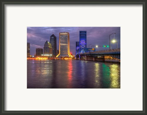 Jacksonville At Dusk Framed Print By Debra And Dave Vanderlaan