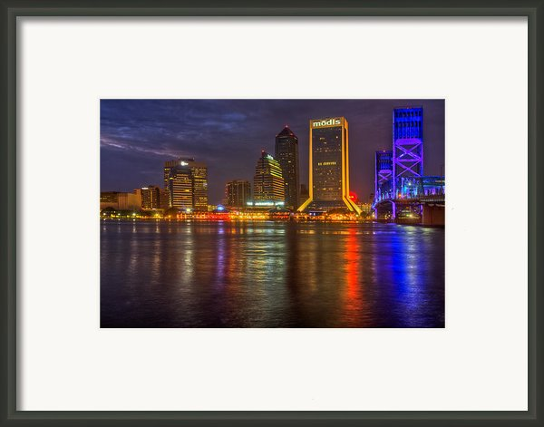 Jacksonville At Night Framed Print By Debra And Dave Vanderlaan
