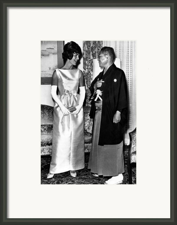 Jacqueline Kennedy, And Japanese Prime Framed Print By Everett