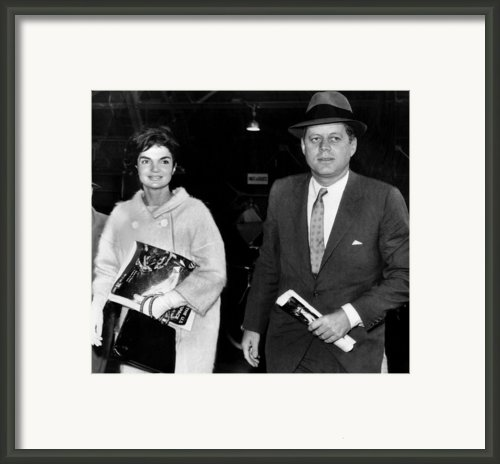 Jacqueline Kennedy And John F. Kennedy Framed Print By Everett