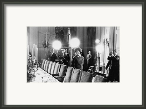 Jacqueline Kennedy And Television Crew Framed Print By Everett
