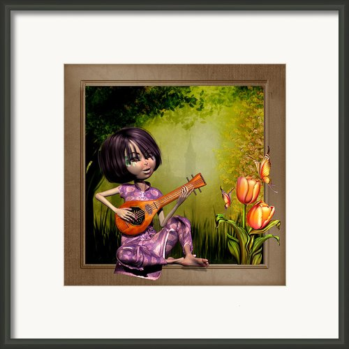 Japanese Woman Playing The Lute Framed Print By John Junek
