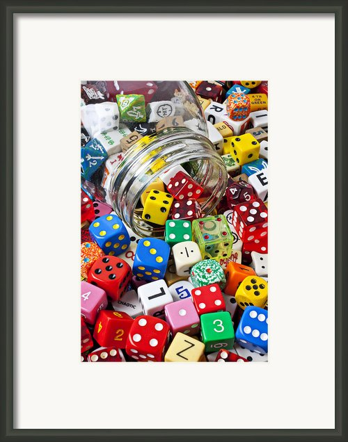 Jar Spilling Dice Framed Print By Garry Gay