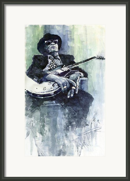Jazz Bluesman John Lee Hooker 04 Framed Print By Yuriy  Shevchuk