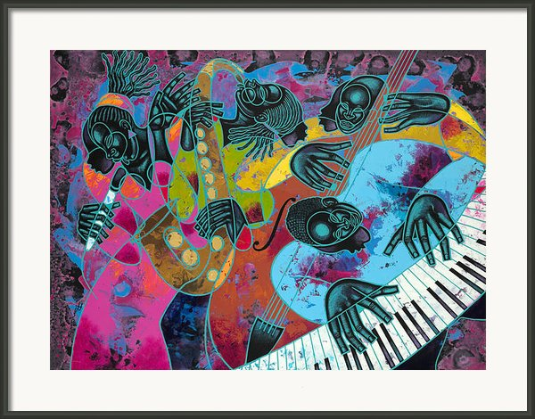 Jazz On Ogontz Ave. Framed Print By Larry Poncho Brown