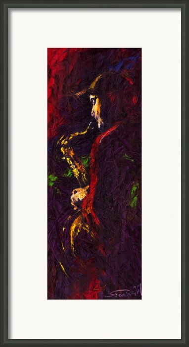 Jazz Red Saxophonist Framed Print By Yuriy  Shevchuk
