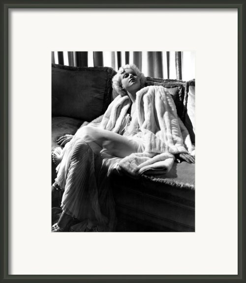 Jean Harlow In A White Gown And White Framed Print By Everett