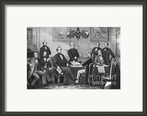 Jefferson Davis, Cabinet Framed Print By Photo Researchers