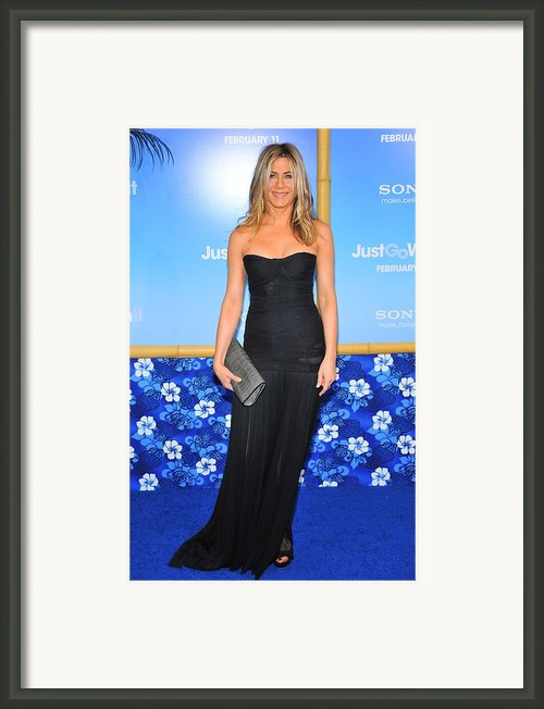 Jennifer Aniston Wearing A Dolce Framed Print By Everett