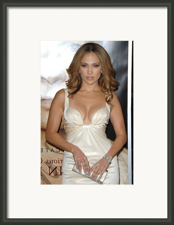 Jennifer Lopez Wearing A Roberto Framed Print By Everett