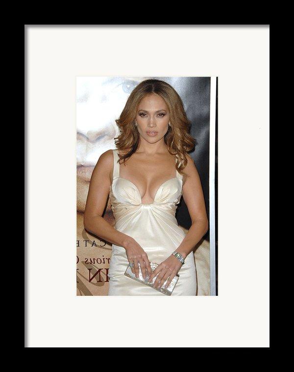 Jennifer Lopez Wearing A Roberto Framed Print By Everett