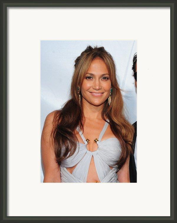 Jennifer Lopez Wearing An Emilio Pucci Framed Print By Everett