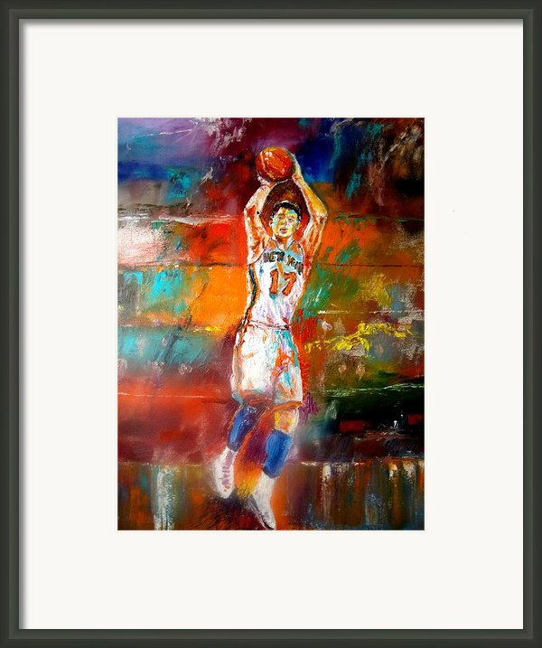Jeremy Lin New York Knicks Framed Print By Leland Castro