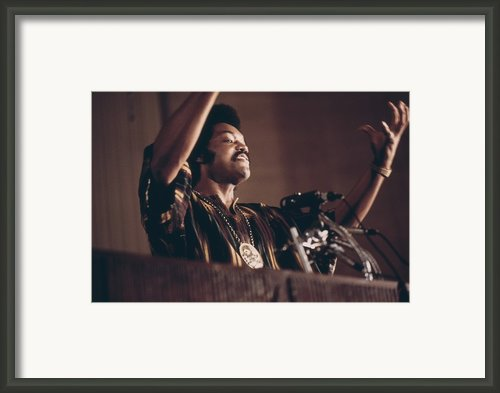 Jesse Jackson Speaks On A Radio Framed Print By Everett