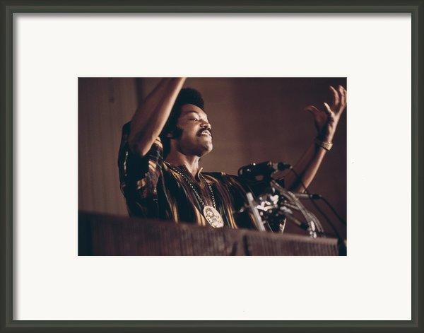 Jesse Jackson Speaks On A Radio Framed Print By Everett