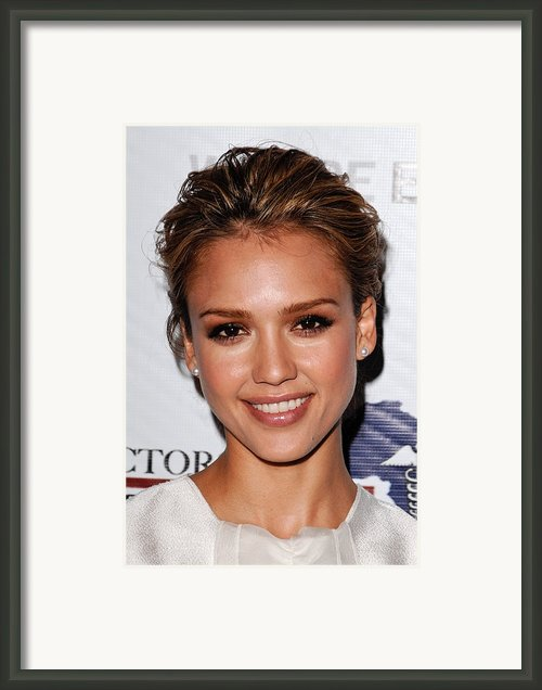 Jessica Alba At Arrivals For African Framed Print By Everett