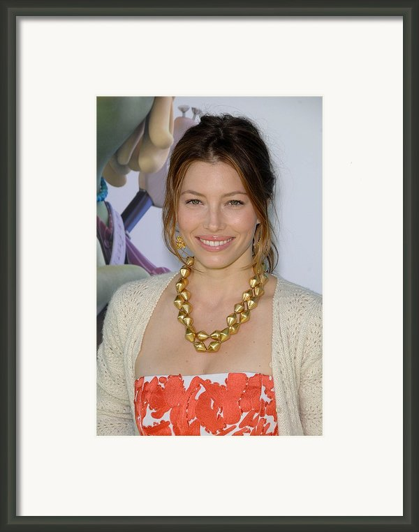 Jessica Biel At Arrivals For Planet 51 Framed Print By Everett