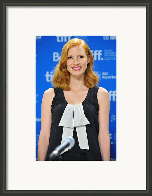 Jessica Chastain At The Press Framed Print By Everett