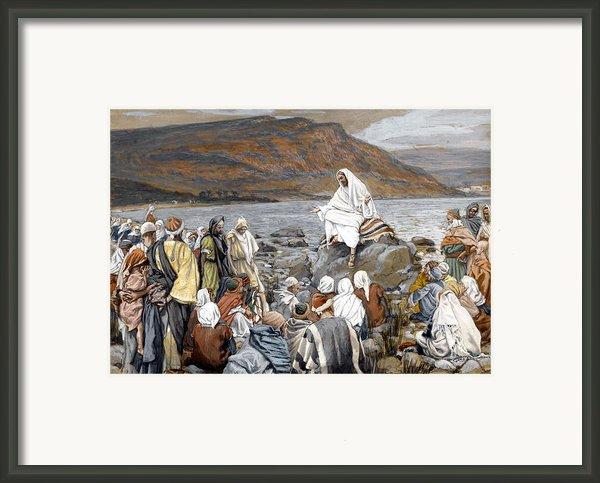 Jesus Preaching Framed Print By Tissot