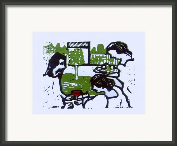 Jesus With Mary And Martha Framed Print By Adam Kissel