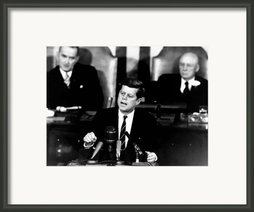 Jfk Announces Moon Landing Mission Framed Print By War Is Hell Store