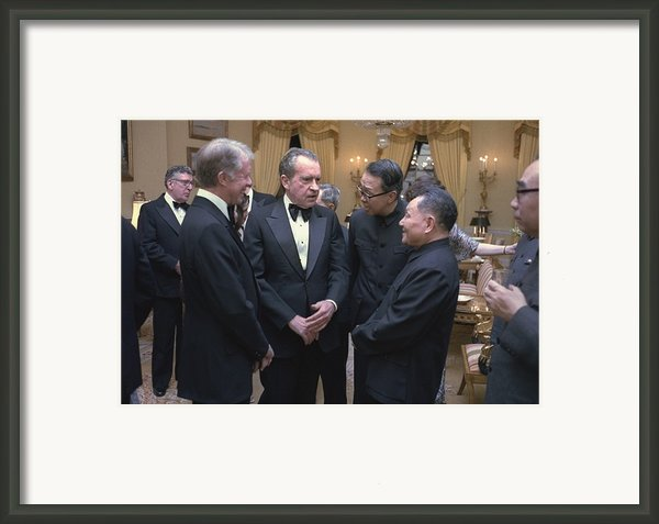 Jimmy Carter Richard Nixon And Deng Framed Print By Everett